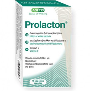 Prolacton®  καινοτόμος συνδυασμός Πρεβιοτικών, Προβιοτικών 15caps