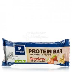 MyElements Sports Protein Bar Mπάρα Πρωτεΐνης εμπλουτισμένη με βιταμίνες, με γεύση Φράουλα-Λευκή Σοκολάτα, 60gr