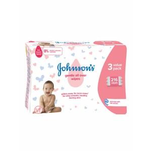 Johnson Baby Gentle wipes 3x72 Τεμάχια Μωρομάντηλα 2+1 ΔΩΡΟ